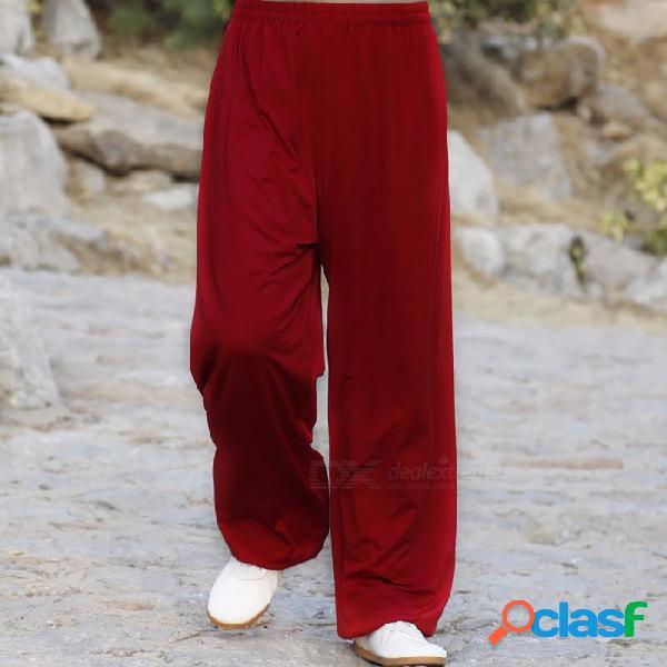 Pantalones de yoga de las artes marciales tai chi, acrobacias kung fu pantalones recortados, pantalones de ejercicio para hombres mujeres xl / rojo