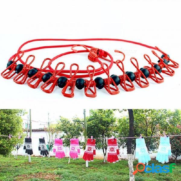 Recorrido portátil elástico para tender la ropa que acampa al aire libre a prueba de viento con 12 pinzas de sujeción pinzas para herramientas al aire libre