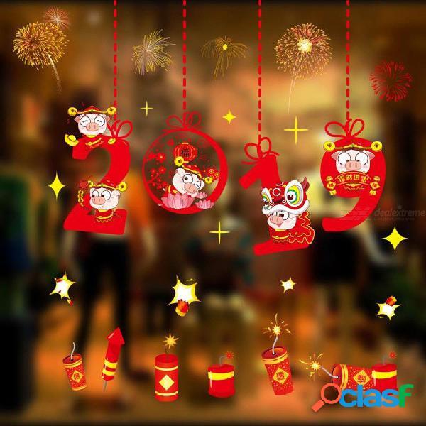 Chino de papel cortada roja flor de cerdo pegatinas de pared decoración para el hogar ventana año nuevo tatuajes de pared diy cartel