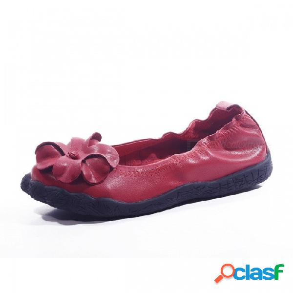 Flor hecha a mano decorada con zapatos de cuero superiores para mujer zapatos de punta redonda suave y casual en zapatos planos para mujeres embarazadas rojo / 40