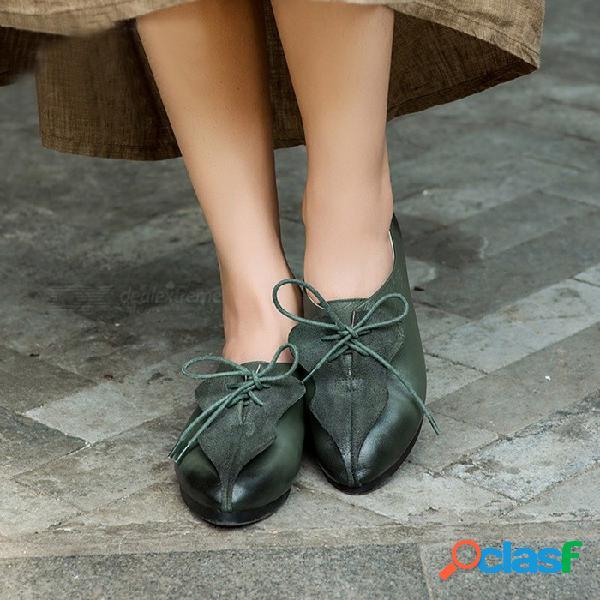 Primavera otoño cuero de vaca superior zapatos de mujer casual punta puntiaguda con cordones zapatos planos para mujer verde ejército / 40