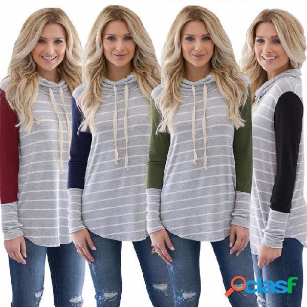 Wq056 sudadera con capucha de manga larga con rayas para mujer, sudadera con capucha casual de otoño para mujer con dobladillo asimétrico negro / s