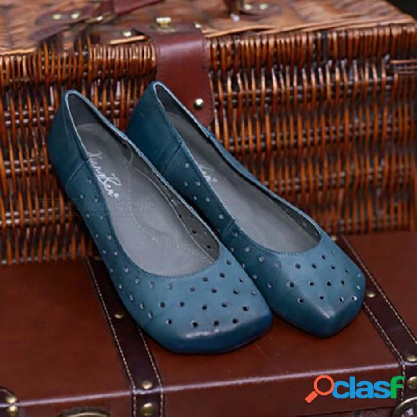 Zapatos de cuero para mujer hechos a mano con top top retro, con varios agujeros, punta redonda ocasional en zapatos planos para mujer azul cielo / 40