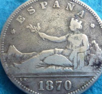 I república , 2 pesetas 1870 de-m