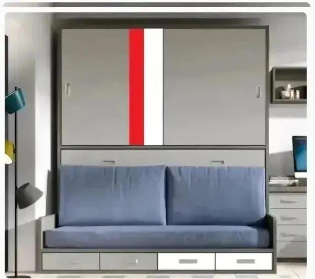 Cama abatible con sofa y armario