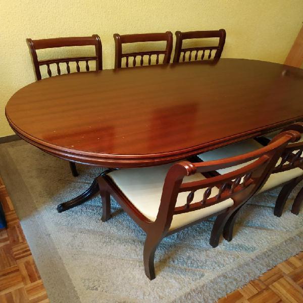 Mesa extensible comedor madera +6 sillas madera