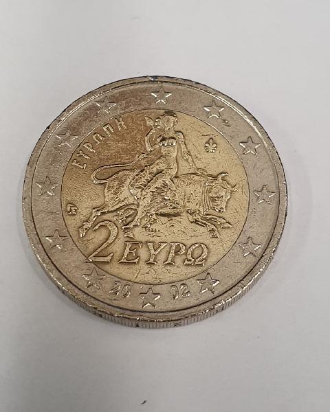 Moneda de 2 euros conmemorativa grecia año 2002