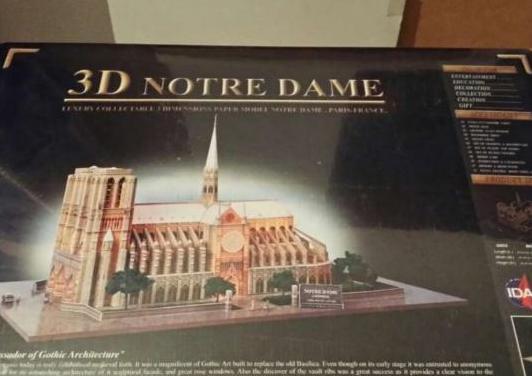 Puzzle maqueta 3d catedral notre dame.