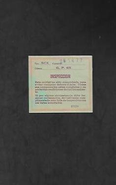 Tarjeta de inspeccion de scalextric g.p. 65