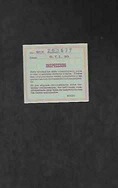 Tarjeta de inspeccion de scalextric g.t.l. 30