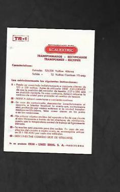 Tarjeta de instrucciones tr-1 scalextric