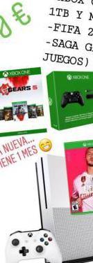 Xbox one, mando y cargador, fifa 20 y saga gears