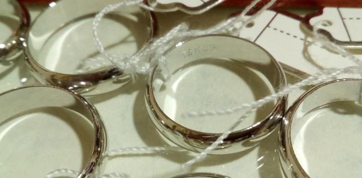 Alianza 5mm chapado oro blanco 18k