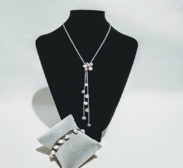 Conjunto en plata, oro y perlas