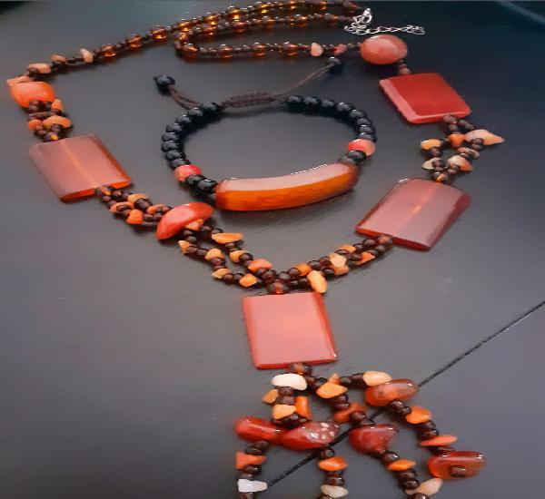 Conjunto de collar y pulsera de agatas étnico deltíbet