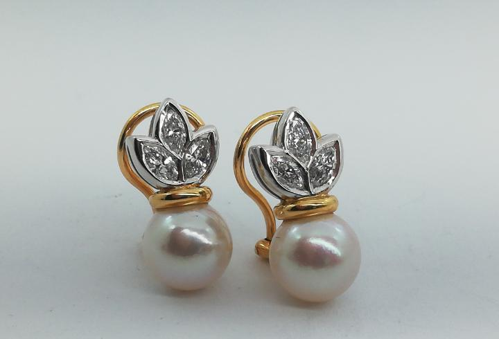 Pendientes oro amarillo, blanco, diamantes y perlas