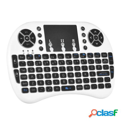 Retroiluminado 2.4 ghz teclado inalámbrico air mouse touchpad control remoto retroiluminación para android tv box pc smart tv blanco
