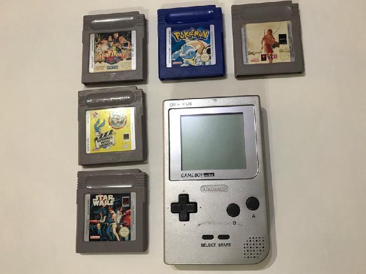 Game boy pocket plata con 5 juegos