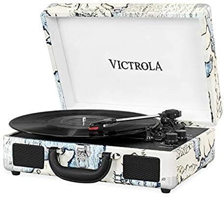Tocadiscos victrola suitcase en maleta vintage blu
