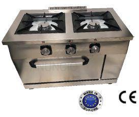 Cocina a gas con horno de acero inoxidable