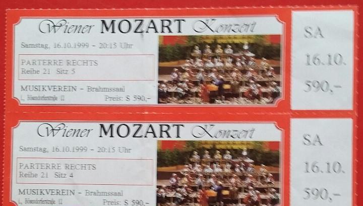 Entradas wiener mozart konzert. fecha 16.10.1999. concierto