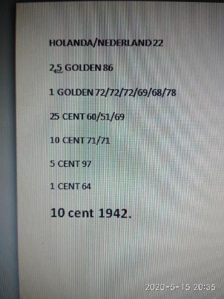 15 monedas de holanda