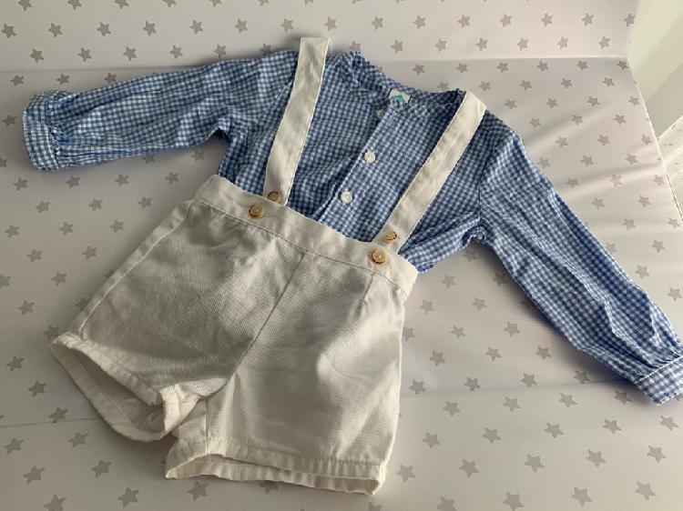 Conjunto de peto y camisa bebé. talla 9 meses