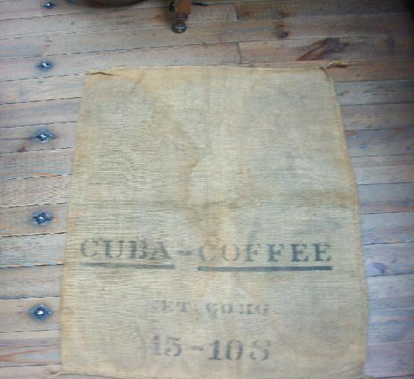 Antiguo saco de cafe de cuba. 97 x 63 cm