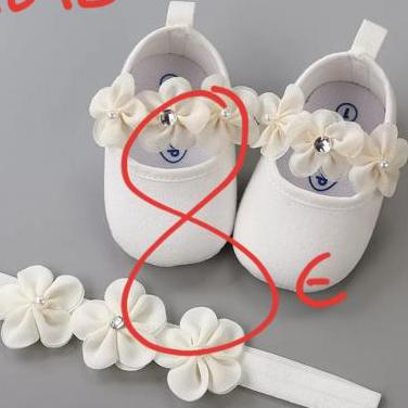 Conjunto zapatos diadema bebé
