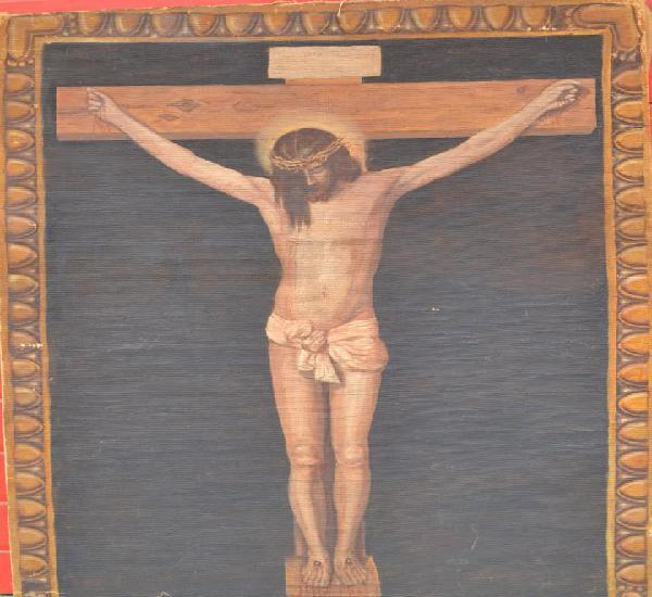Oleo sobre tela cristo, jesus o jesucristo crucificado o en