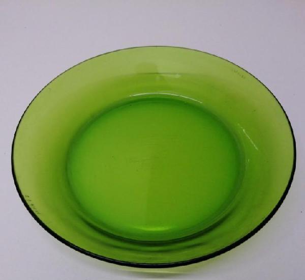 Plato antiguo de cristal color verde duralex vajilla