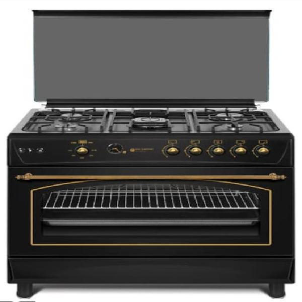 Cocina de gas rustica negra 5 fuegos wok