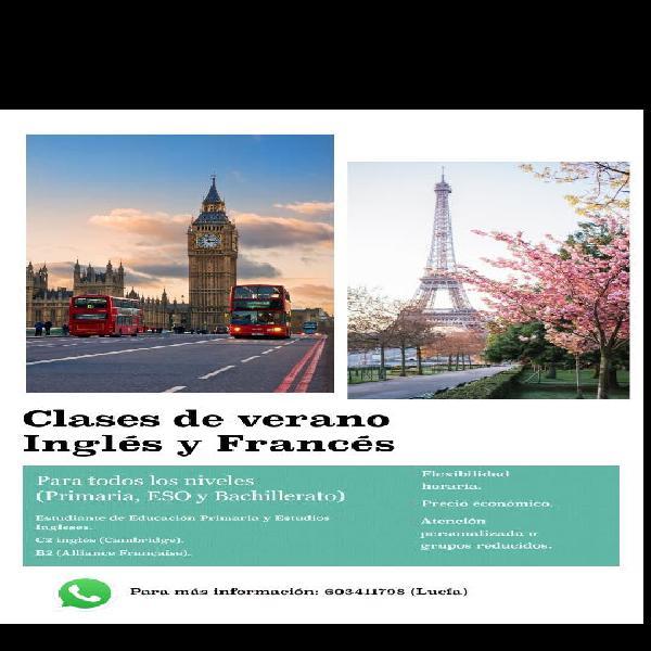 Clases particulares de inglés y francés.