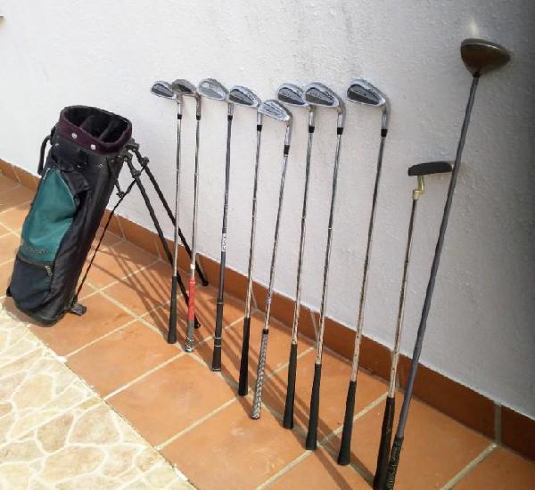 Equipo de palos de golf, con bolsa con patas y diez palos
