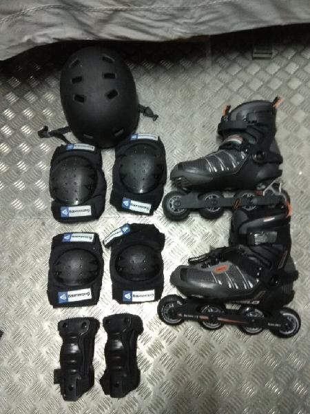 Patines+protecciones+casco.