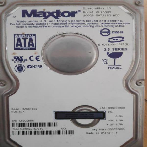Disco duro sata maxtor 200 gb
