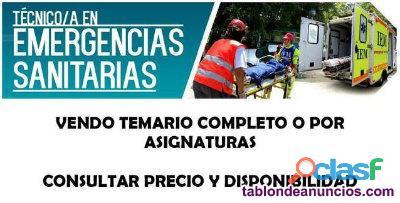 VENDO TEMARIO TÉCNICO DE EMERGENCIAS SANITARIAS