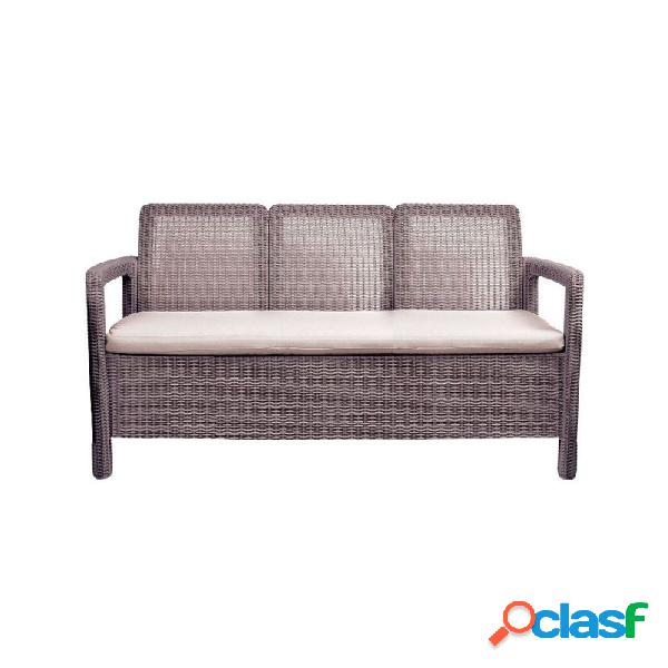 Sofa ratan resina triple tarifa marron