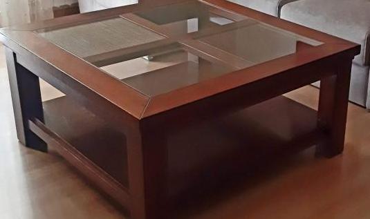 Mesa centro madera maciza nogal