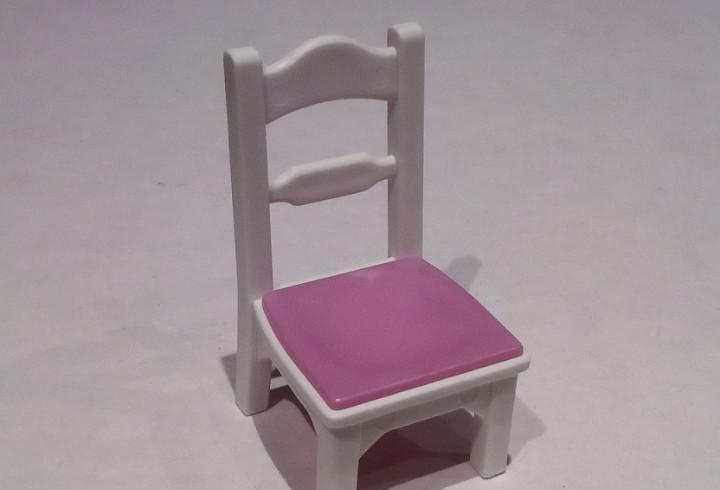 Playmobil - silla tipo madera color blanco rosa