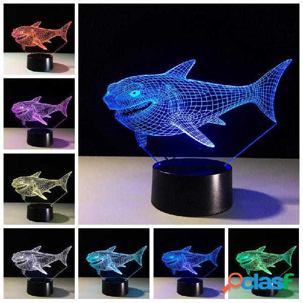 Shark 3d night light 7 colores que cambian led interruptor tactil usb table lámpara regalo para decoraciones