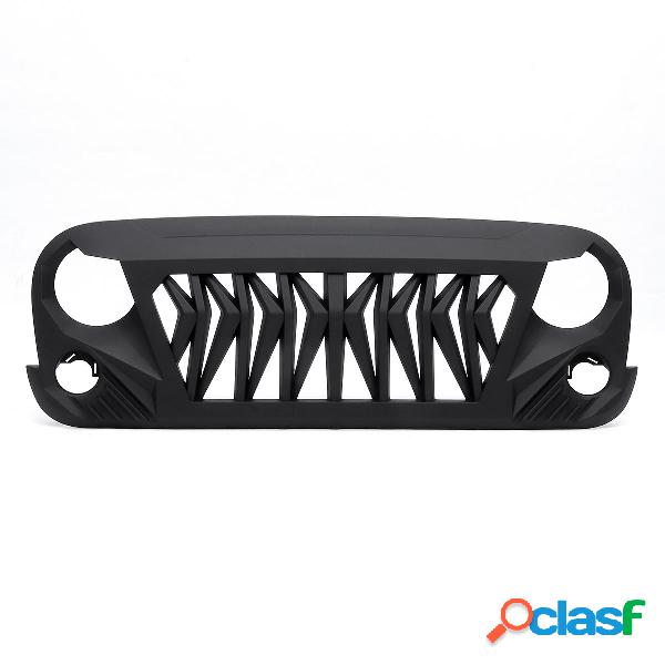 Shark grille matt black abs rubicon ilimitado para jeep wrangler 2007-2018 jk jku