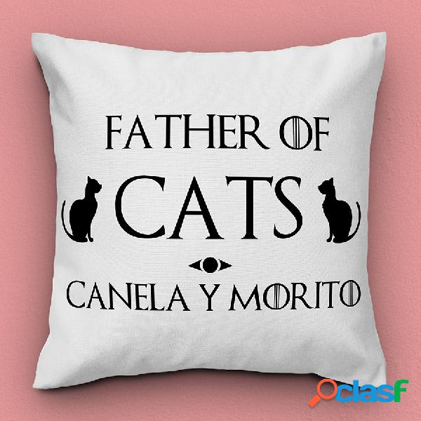 "Cojín personalizado con nombre ""father of cats"""