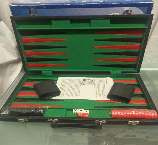 Backgammon maletin grande piel. nuevo