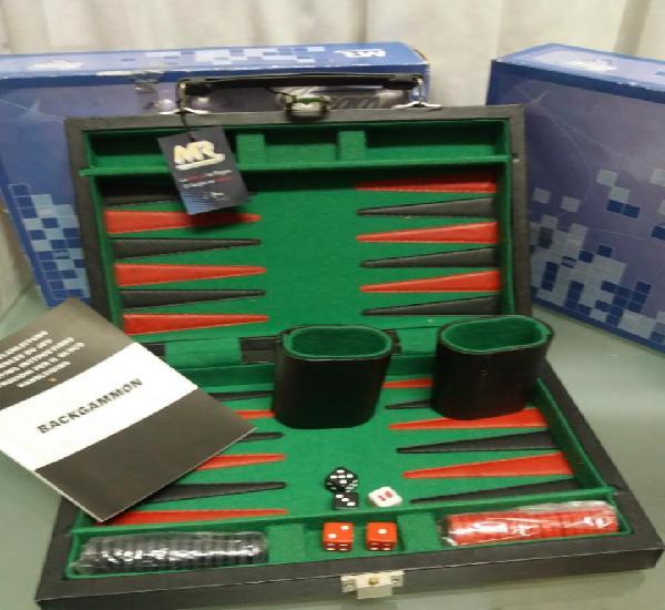 Backgammon maletin piel. nuevo