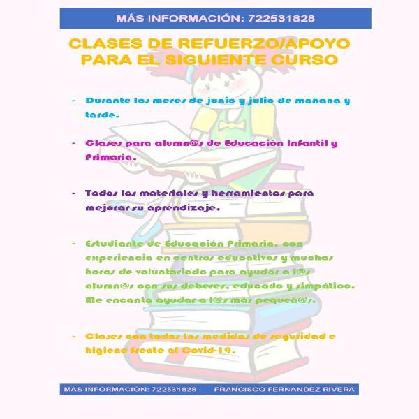 Clases particulares/refuerzo/apoyo de verano