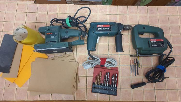 Lote 3 herramientas bosch taladro sierra lijadora