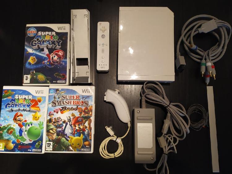 Wii + juegos + mando + cables