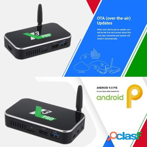 X3 pro android 9.0 tv box s905x3 quad-core 64-bit chipset cpu cortex-a55 tv set top box soporte bt 4k 1080p 4gb + 32gb media player 2.4g / 5g wifi