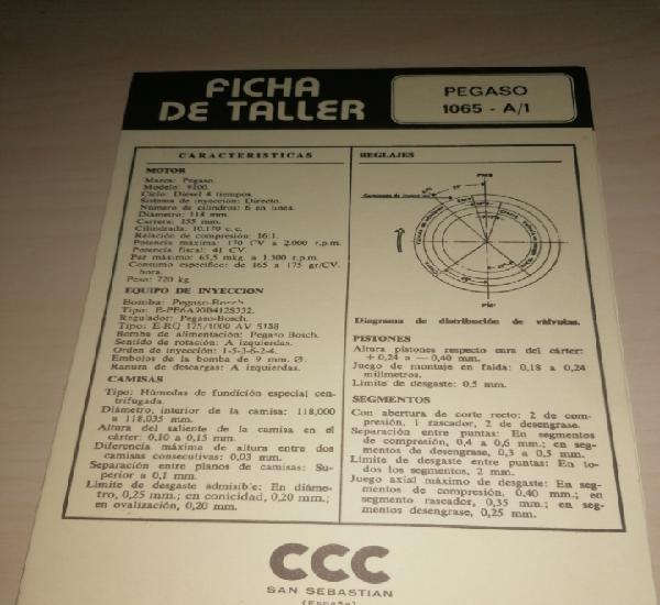 Ficha de taller pegaso 1065 a/1 + diesel fiat 6 cil. 221